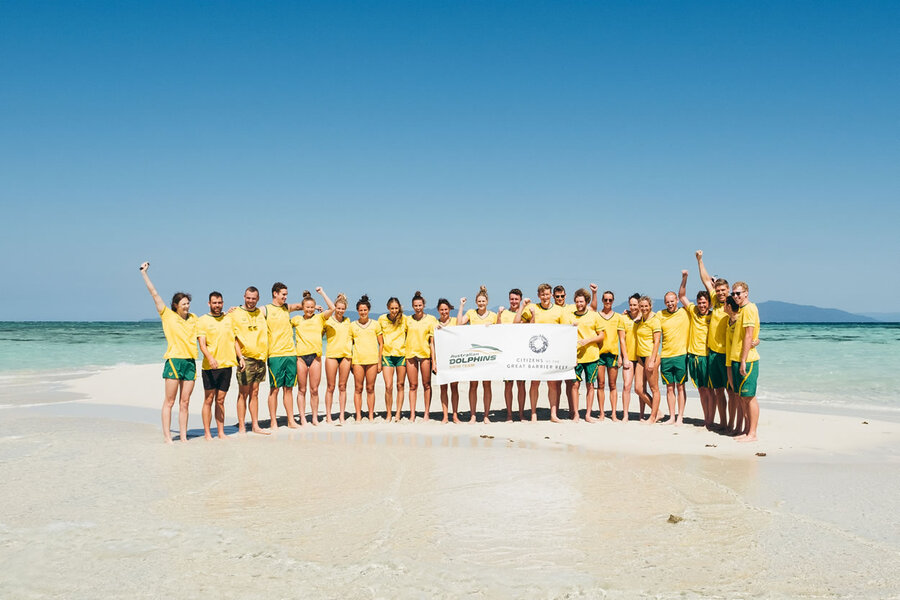 Australian Swimming Team on the Great Barrier Reef